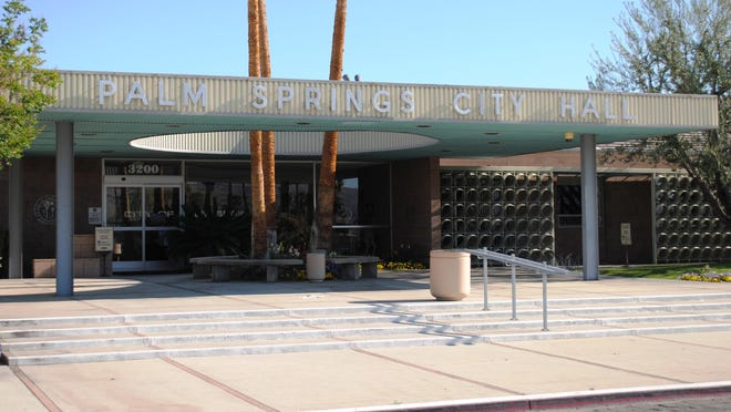 Palm Springs City Hall. More than $350,000 has already poured into the race to fill the mayor's seat and two seats on the City Council.