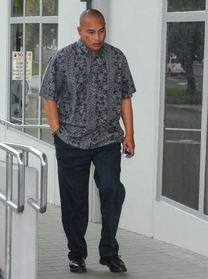 Vincent John Quitugua enters the District Court of Guam in Anigua for his sentencing on July 6, 2017. The former Jose Rios Middle School math teacher was sentenced to 4 years and 9 months in a case involving marijuana, methamphetamine and firearms.
