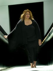 Architect Zaha Hadid at the building she designed. The CAC at 6th and Walnut was her first major design in the United States.