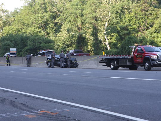 New York state police investigate a crash on Interstate 87 northbound near the Ardsley rest area on Monday, June 27, 2016.