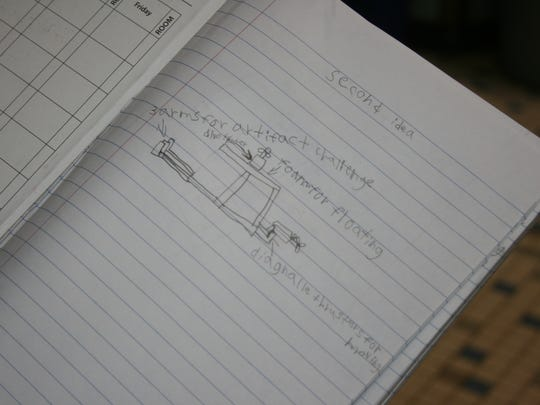 A page out of Horseheads Intermediate School's Underwater ROV team notebook shows a design for a robot developed by fifth- and sixth-graders.