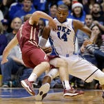 Duke's Rasheed Sulaimon defends against Elon's Luke Eddy during college basketball action Monday at Durham, N.C.