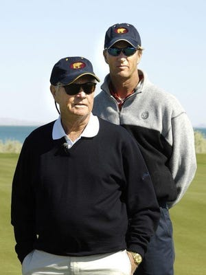 Jack Nicklaus, front, with son Jack Nicklaus II.