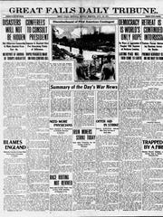Front page of the Great Falls Daily Tribune from July 30, 1917.