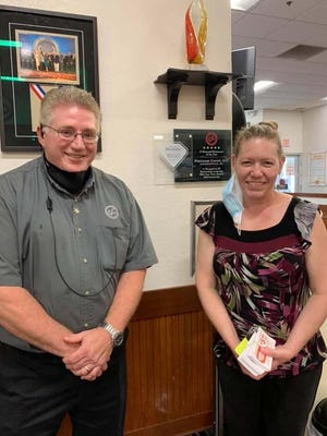 Golden Corral of Jacksonville recently presented Rebecca Collins from Onslow County School Nutrition Department 300 appreciation coupons for the staff as a thank you for supporting the children of Onslow County during the pandemic.