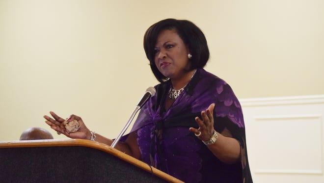 Former WDAM-TV assistant news director Miranda Beard talks during a press conference Sunday at C.E. Roy Community Center.