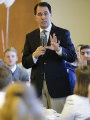 Governor Scott Walker speaks during the Manitowoc County