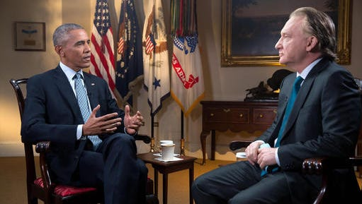 "In this Tuesday, Nov. 1, 2016 photo provided by HBO, host Bill Maher, right, speaks with his interview guest, President Barack Obama, left, during a taping of the television show ""Real Time with Bill Maher,"" at the White House in Washington. The show aired on HBO's ""Real Time"" Friday night, Nov. 4. Obama spoke with pride of his achievements during his two terms as chief executive, saying ""every single issue we've made progress on"" will be on the ballot next Tuesday in the form of the opposing candidates."