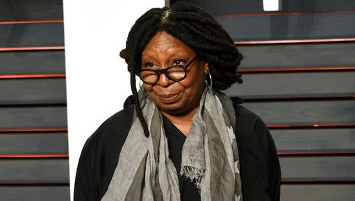 FILE - This Feb. 28, 2016, file photo, shows Whoopi Goldberg at the Vanity Fair Oscar Party in Beverly Hills, Calif. An ABC spokeswoman told The Associated Press on March 10, 2017, that Goldberg never said remarks critical of the widow of a fallen Navy SEAL, despite a widely shared story that claims she did.