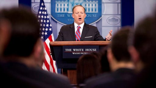 White House press secretary Sean Spicer talks to the media during the daily press briefing at the White House in Washington, Tuesday, March 28, 2017. Spicer discussed the Supreme Court nominee Justice Neil Gorsuch, jobs, and other topics.