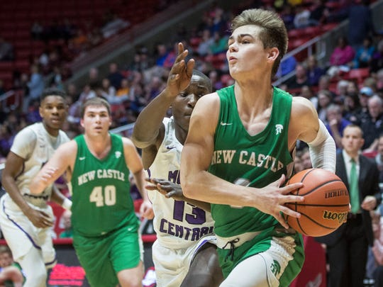 New Castle's Luke Bumbalough drives to the basket against Central on Feb. 24 inside Worthen Arena for the last regular season game.