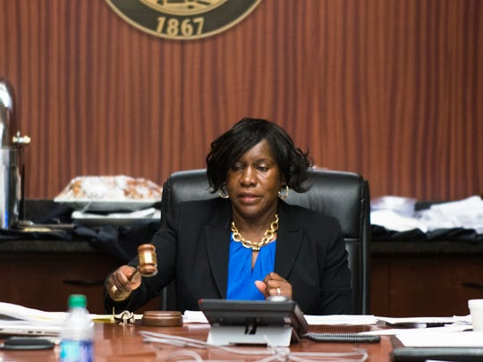 Alfreda Warner Green, ASU Board Chair, ends a committee meeting on Wednesday, April 12, 2017, in Montgomery, Ala.