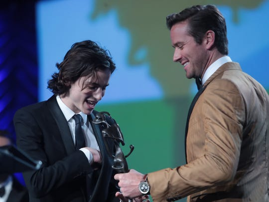 """Armie Hammer, the co-star of """"Call Me By Your Name,"""" presented the Breakthrough Performance Award – Actor to his younger co-lead, Timothée Chalamet."""
