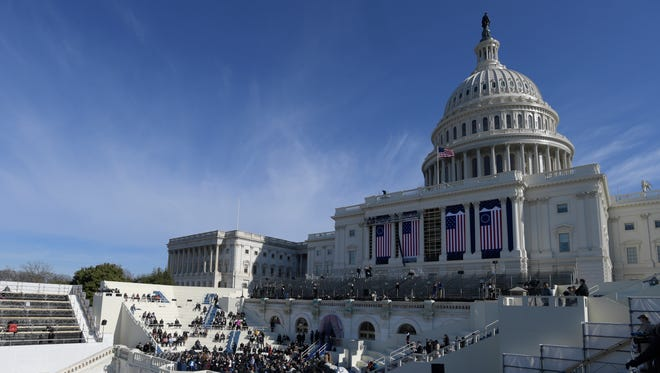 The West Front of the Capitol is pictured during the rehearsal for the inauguration on Jan. 15, 2017.