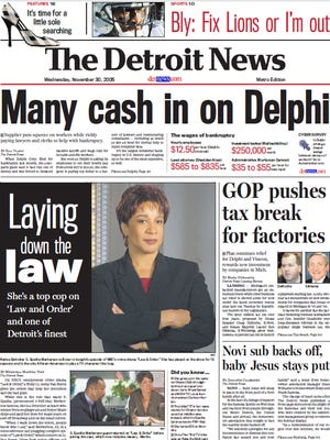The front page of The Detroit News on Nov. 30, 2005.