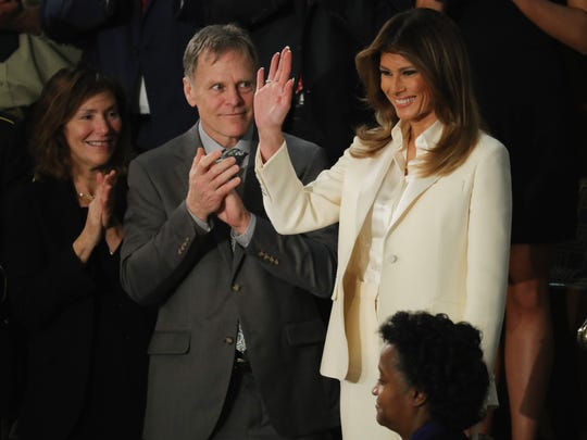 Fred and Cindy Warmbier applaud as First lady Melania Trump arrives for the State of the Union.
