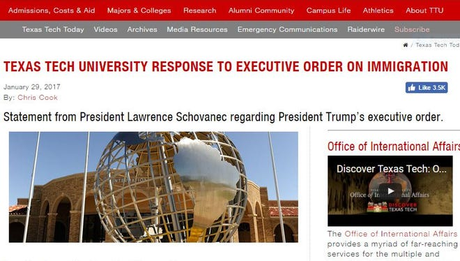 Texas Tech University posted its response to the executive orders on immigration on its website as seen on this screenshot.
