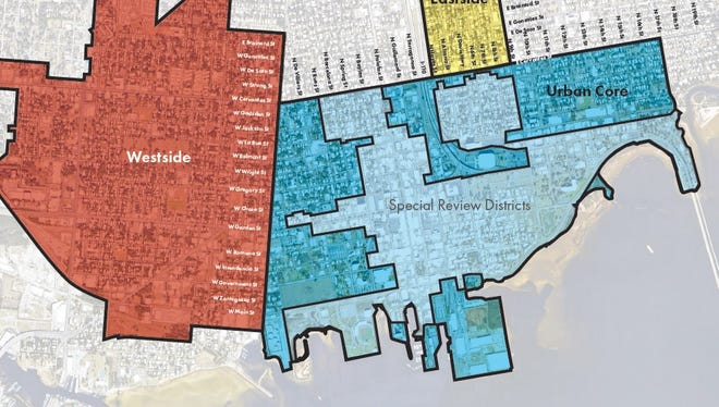 The three districts in downtown Pensacola that DPZ will be writing draft development guidelines for the week of Feb. 12.