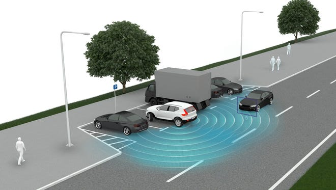 This graphic provided by Volvo shows how a rear cross-traffic system spots oncoming vehicles. New cars can come laden with safety technology, some that warns you and some that also takes action to protect you.