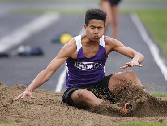 Brownsburg long jumper Pierce Thomas was turning heads