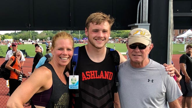 Hudson McDaniel, Ashland High School's Athlete of the Year, with his mom Jamie and grandfather, Jim Minnich, who are past recipients of the award.