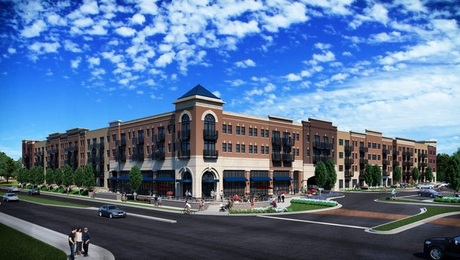 A rendering of the exterior of The Arbuckle mixed-use development under construction along North Green Street in Brownsburg. The retail and apartment complex is part of a nearly $90 million redevelopment project that will create a new downtown-style area for the Hendricks County town.
