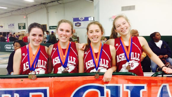 Asheville High junior Naomi Cartier, far left, won the 1,000-meter dash at Saturday's NCHSAA 3-A indoor track meet.