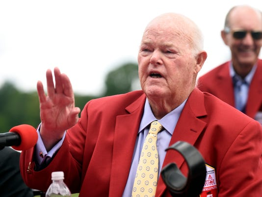 "Ogden Mills ""Dinny"" Phipps of Phipps Stable talks to reporters after being inducted to the New York Racing Association 2015 Saratoga Walk of Fame during the annual Red Jacket Ceremony at Saratoga Race Course on Friday, August 28, 2015 in Saratoga Springs, N.Y. (AP Photo/Hans Pennink)"