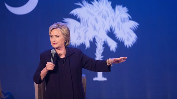 Hillary Clinton speaks at a town hall meeting at Royal