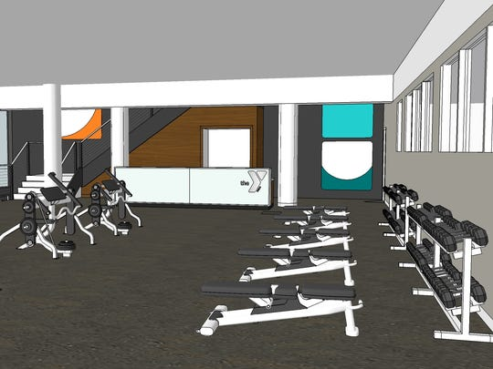 An architect's rendering of the planned wellness center for the remodeled downtown Green Bay YMCA.