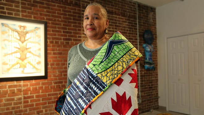 """Artist Carole Robinson created quilts for """"Signals to Freedom,"""" a show at H-Art Gallery in Peekskill. The quilts feature designs that were used as signals to slaves escaping on the Underground Railroad. Several spots in Peekskill were stops on the historic road to freedom."""