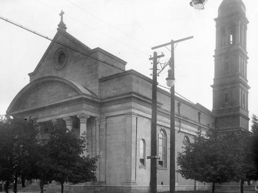 Church of the Holy Cross, erected in 1922, stands on the corner of Oriental and Ohio streets.
