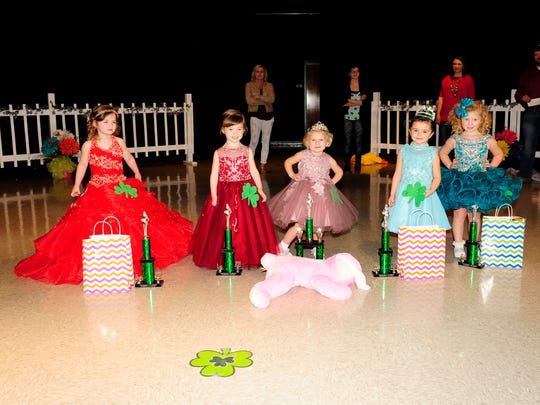 The 3-year-old winners are, from left, Kathryn Reynolds, third runner-up; Raelynn Carter, first runner-up; Baylee Anderson, Tiny Princess; Delyah Walton, second runner-up; and Greyleigh Compton, fourth runner-up. Other winners not pictured are Raelynn Carter, People's Choice; Macy Stratton, Prettiest Dress; Lucinell Tabb, Prettiest Eyes; Carleigh Largent, Prettiest Smile; and Paisley Moore, Best Personality.