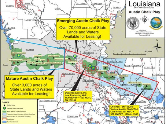 This map shows the path of the Austin Chalk through