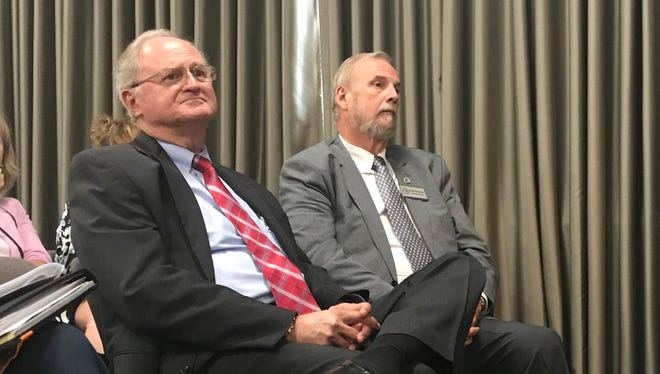 George Wood, left, was appointed as interim Buncombe County manager Tuesday, June 19, 2018. He will replace County Manager Mandy Stone following her abrupt retirement.
