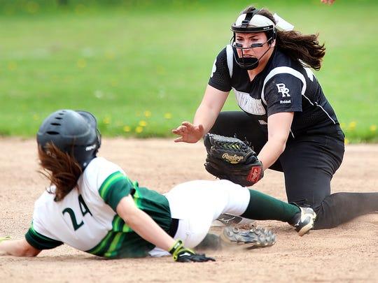 Bridgewater-Raritan second baseman Grace Venutos tags out Ridge's Katelyn Behar on Saturday May 5, 2018 photo by Ed Pagliarini