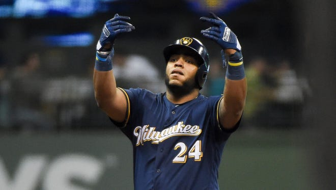Jesus Aguilar has been earning playing time at first base recently.