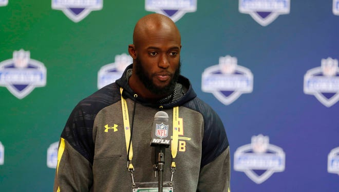 LSU running back Leonard Fournette speaks during the 2017 NFL Combine at the Indiana Convention Center.