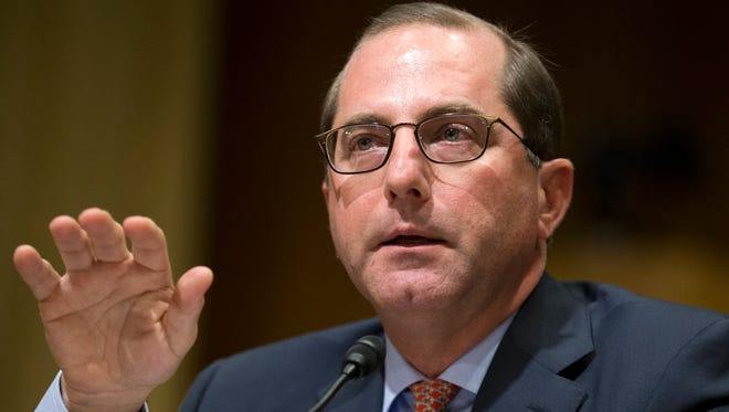 Alex Azar appears before the Senate Finance Committee hearing on his nomination to be Secretary of Health and Human Services on Capitol Hill in Washington, D.C.,  Jan. 9, 2018.