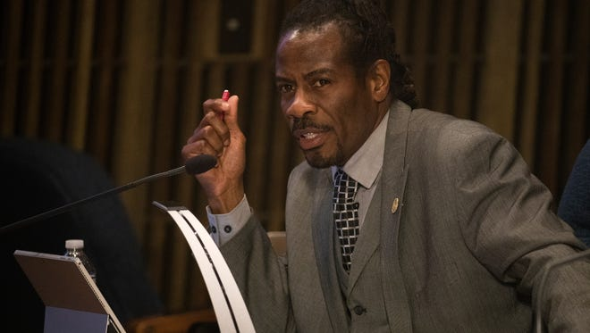 Wilmington Councilman Nnamdi Chukwuocha speaks during a budget hearing Wednesday in the City Council Chambers.