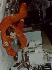 Otha Vaughan in the NASA KC-135 Zero-G-Aircraft