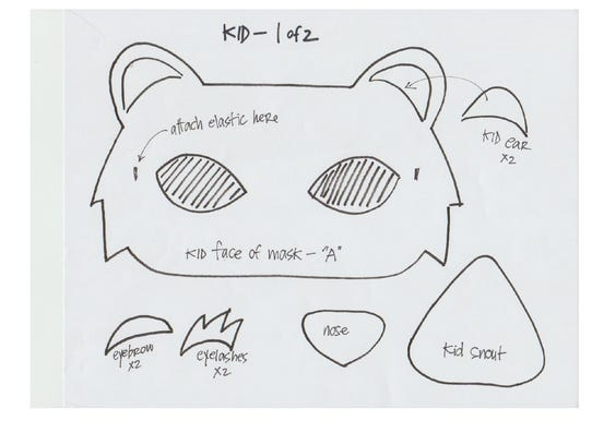 Steps to create a bear's mask for Halloween.