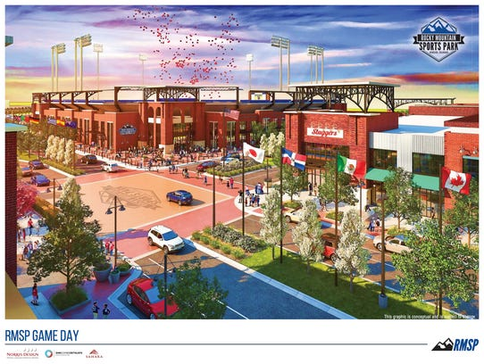 """A rendering of the """"stadium district"""" of the Rocky"""
