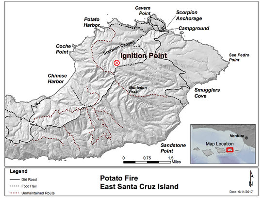 This map shows where the Potato Fire started on Santa