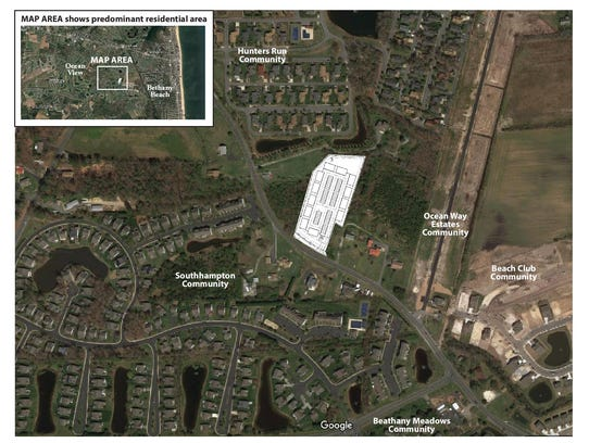 An aerial image shows where a proposed storage unit in Ocean View would be located.