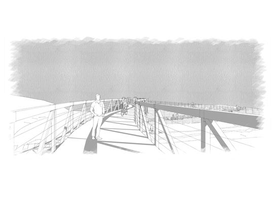 A view (looking east) of the pedestrian bridge design