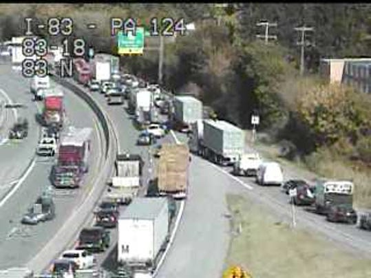 A crash at the Market Street exit of Interstate 83 that happened about 11:25 a.m. Friday has northbound traffic gridlocked.
