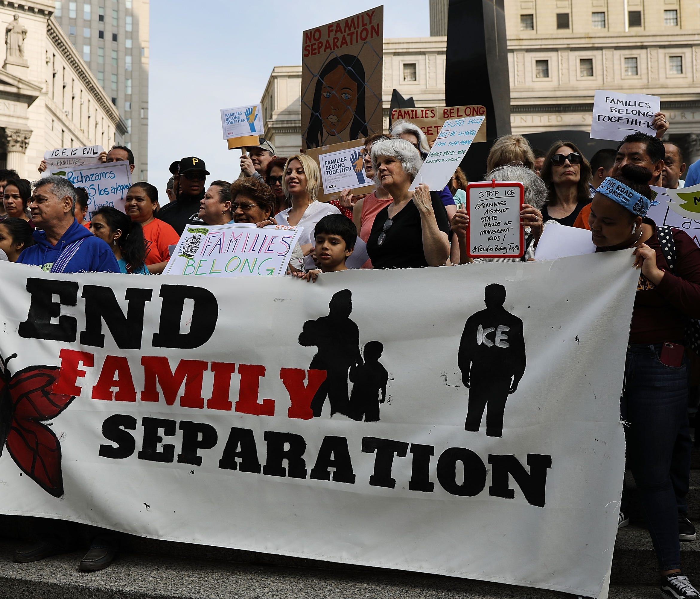 NEW YORK, NY - JUNE 01:  Hundreds of immigrant rights advocates and others participate in rally and and demonstration at the Federal Building in lower Manhattan against the Trump administration's policy that enables federal agents to take migrant chi