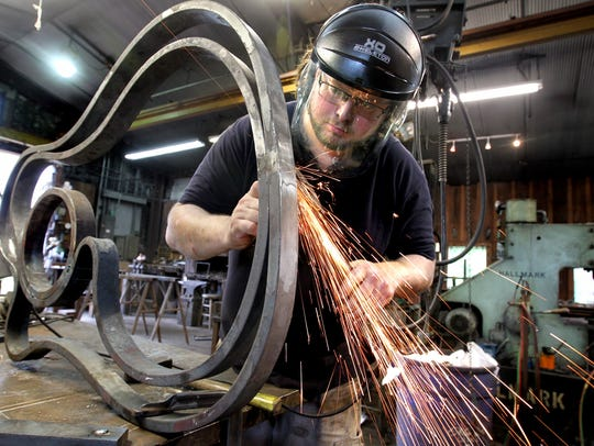 Matthew Snape, a second year blacksmithing apprentice,