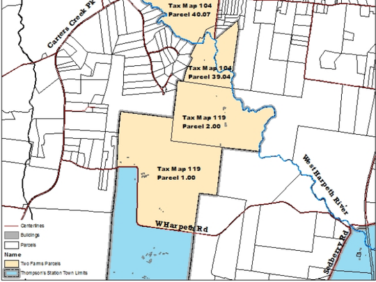 Vicinity map of the parcels that comprise the Two Farms